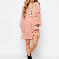 Glamorous Smock Dress with Lace Insert at asos.com
