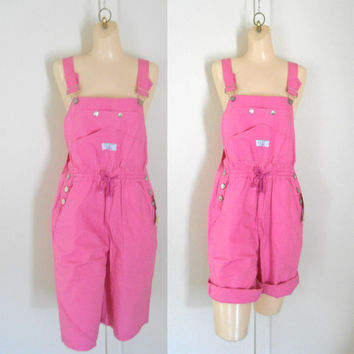 Womens Overalls Shorts Overall Shortalls Womens Cotton Overalls Women Dungarees Cotton Overalls Salopette Femme Short Dungarees Hot Pink 90s