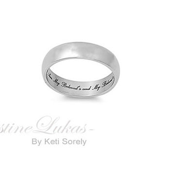 Man's Engraved Ring - Promise Ring with Message. Message Wedding Band - Stainless Steel