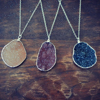 Druzy Necklaces /// Electroformed Gemstone Arrowhead /// Silver