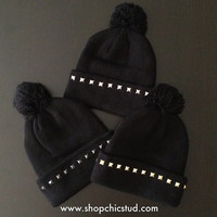 Studded Pom Pom Beanie - Black Beanie Hat - Gold, Silver, or Black Studs