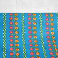Vintage dark turquoise cotton fabric with small red and orange flowers, rustic chic fabric, celadon quilt fabric