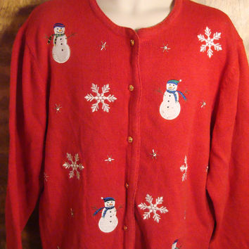 Snowmen Playing in the Snow Tacky Christmas Sweater