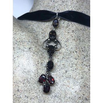 """Bohemian """"Y"""" necklace Droplet smoky topaz garnet and Sterling Silver Necklace"""