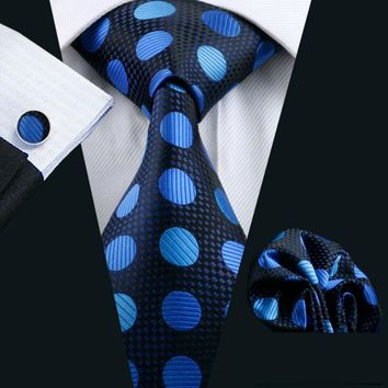 Ties For Men 100% Silk Blue Polka Dot Jacquard Woven Gravata Tie Hanky Cufflinks Set For Formal Wedding Business Party LS-796