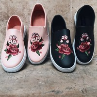 Drive You Wild Mauve Floral Rose Patch Sneaker