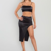 Elevate Satin Two Piece - Black