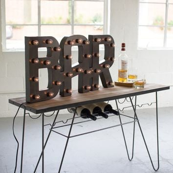 Raw Metal Bar Marquee Sign with Lights
