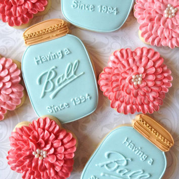 Having a Ball Mason Jar and Dahlia Flower Decorated Cookies - One Dozen Decorated Sugar Cookies