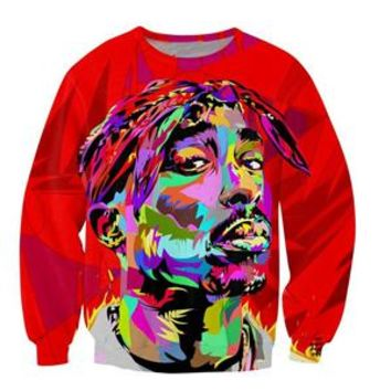 2017 Autumn hot sale Long Sleeve Outerwear harajuku Hipster Pullovers California Love 2pac Tupac 3d print Crewneck Sweatshirt