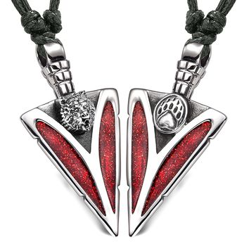 Arrowhead Grizzly Bear Head and Paw Love Couples BFF Set Amulets Sparkling Red Adjustable Necklaces