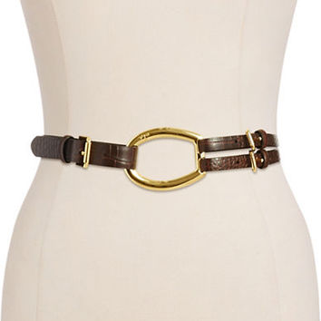 Lauren Ralph Lauren Embossed Double Strap Leather Belt