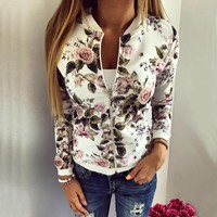 Print Zipper Flowers Print Short Coat