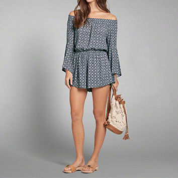 Pattern Off-the-Shoulder Romper