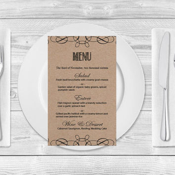 Kraft Paper Wedding Menu Template- Rustic Swirls Printable Wedding Menu Card - Editable PDF Templates - Instant Download - DIY You Print