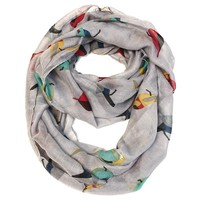 Gray Infinity Scarf with Multi-Color Birds