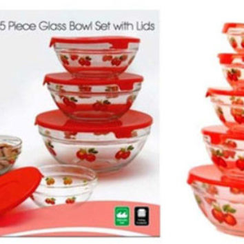 imperial home glass bowl w/red apple decals - 5 piece set Case of 12