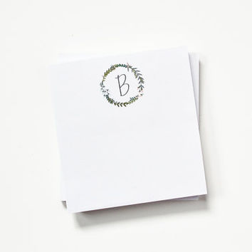 Personalized Notepad Set | Illustrated Floral Monogrammed Notepads : Garden Wreath Collection