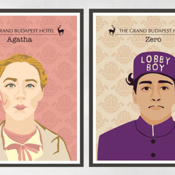 SALE - Set of 2 Prints, The Grand Budapest Hotel, Wes Anderson, Wall Prints, Home Decor.