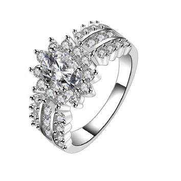 Crystal Silver Cubic Zircon Band Ring
