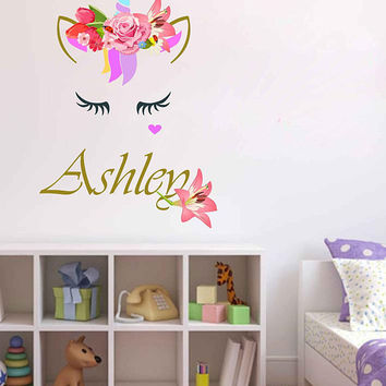 Unicorn wall decal Custom Name Vinyl Wall Decal Large Wall Decal Smiling Unicorn Decal Happy unicorn decal Unicorn lashes cik2276