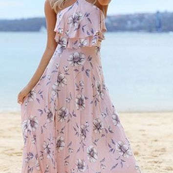 Captivating Romance Pink Floral Spaghetti Strap Sleeveless Halter Ruffle Cut Out Casual Maxi Dress