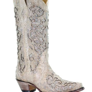 Corral White Glitter Inlay & Crystals Fashion Western Boots
