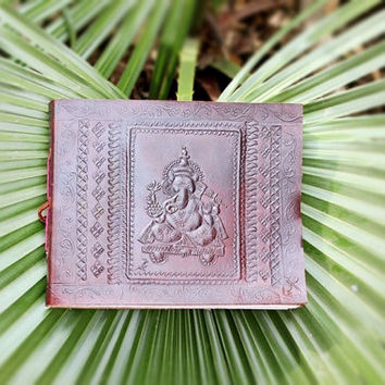 Leather Photo Album, Wedding Photo Album, Wedding Scrapbook, personalized photo album Birthday Photo Album, Embossed Ganesha Photo Album