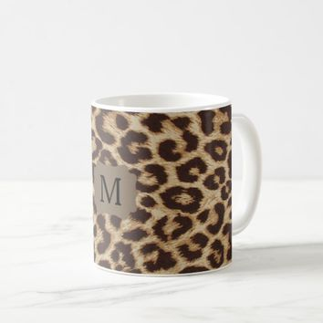 Monogram Leopard Print Coffee Mug