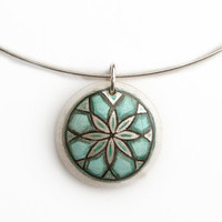 Cyan Necklace Hand Painted Wood Jewelry  - Chic and Elegant Choker
