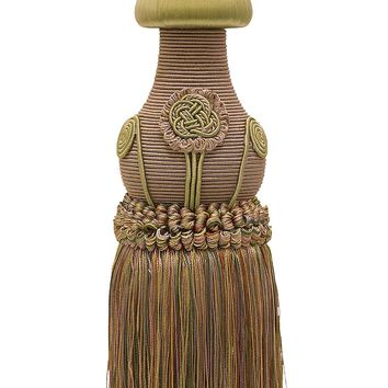 "Decorative Curtain & Drapery Tassel Tieback / Lt Bronze, Olive Green, Terracotta / 12"" tassel, 32"" Spread (embrace), 7/16"" Cord, Baroque Collection Style# TBBL-1 Color: Chaparral 5615"