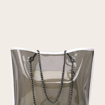 Clear PVC Chain Tote Bag With Inner Clutch