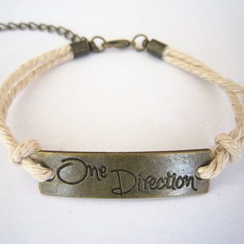 Bronze One Direction Bracelet, Directioner Bracelet, Black ID Bracelet, Personalized Bridesmaid Jewelry, Unique Friendship Graduation Gift