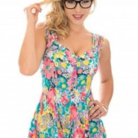 Floral Playsuit with Multi Straps and Button Detail Front