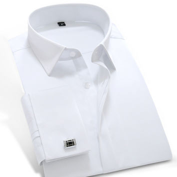 2016 Mens Long Sleeve White-solid Poplin Dress Shirt with French Cuffs 100% Cotton Soft Slim-fit Tuxedo Shirt(Cufflink Included)