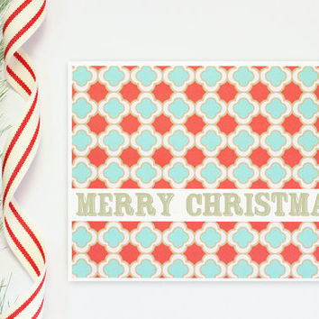 Custom Holiday Card Personalized Christmas Cards Red and Turquoise Note Cards Teal and Red Stationery Greeting Cards Customized / Set of 10