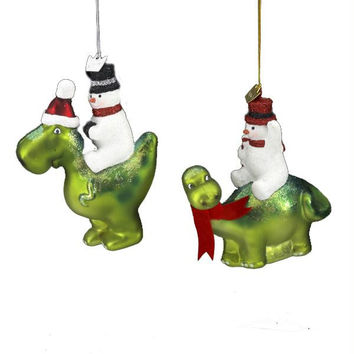 8 Christmas Ornaments - Dinosaur-riding Snowmen