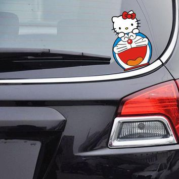 Aliauto Car-Styling Hello Kitty And DORAEMON Funny Car Sticker Cute Decal Accessories For Volkswagen Ford Focus Renault Toyota