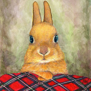 "art print of bunny painting  ""teatime rabbit"" watercolor pencil drawing, autumn vibe artwork"