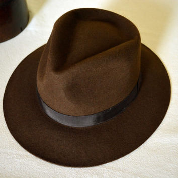 Brown Wool Felt Fedora - Wide Brim Merino Wool Felt Handmade Fedora Hat - Men Women
