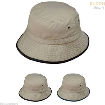 NEW WASHED BUCKET HAT WITH TRIM HATS CAP CAPS MENS WOMENS KHAKHI NAVY BLACK