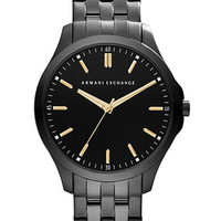 Armani Exchange Mens Black Bracelet Watch with Gold Tone Accents