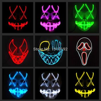 EL wire mask Light Up Neon LED Mask For Halloween tomorrow land scary party  cosplay Masks By 3V Steady on Driver