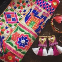 Embroidered Elephant Flora Long Wallet Hand Clutch Gypsy Hippies Bohemian Style Retro Long Purse Embroidery Wristlet phone Cosmetic case