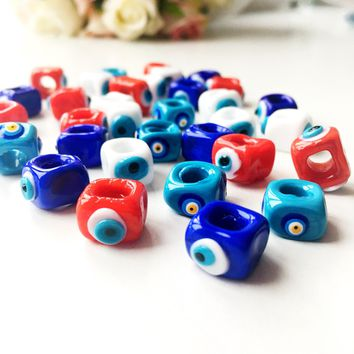 Evil eye charm 3 pcs, evil eye beads, murano glass evil eye beads, glass evil eye pendants, lamp work turkish evil eye beads, cubic eye bead