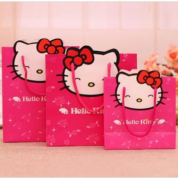 (20 Pcs) Cartoon Hello Kitty Wedding Party Birthday Children's Day Paper Candy Gift Box Bag Size S M L