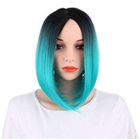 CHICSHE Ombre Blue Wig Synthetic Hair Short Bob Straight Hair - 6