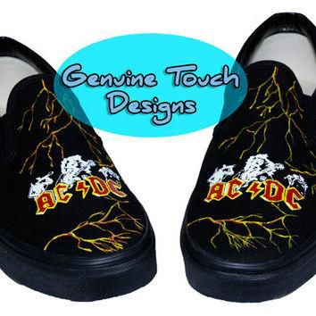 Custom Hand Painted Vans, Fanart ACDC, Handpainted shoes, ACDC Vans,