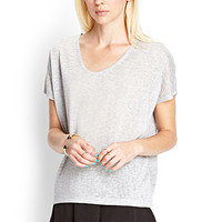FOREVER 21 Relaxed Heather Knit Top Heather Grey