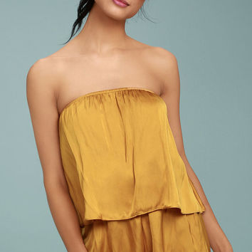 Catia Mustard Yellow Satin Strapless Romper